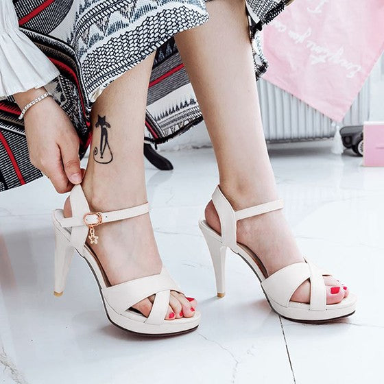 Casual White Piscine Mouth Stiletto Cross Strap Buckle Fashion High-Heeled Sandals