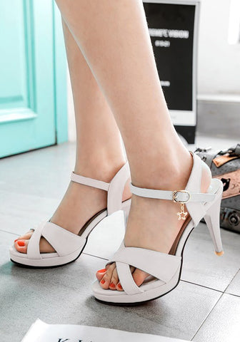 Streetstyle  Casual White Piscine Mouth Stiletto Cross Strap Buckle Fashion High-Heeled Sandals