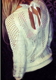 ByChicStyle Casual White Plain Backless Hollow-out Fashion Long Sleeve Pullover Sweater