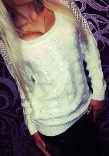 Casual White Plain Backless Hollow-out Fashion Long Sleeve Pullover Sweater