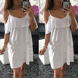 ByChicStyle Casual White Plain Condole Belt Ruffle Round Neck Mini Dress