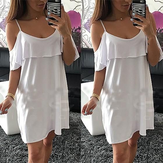 Casual White Plain Condole Belt Ruffle Round Neck Mini Dress