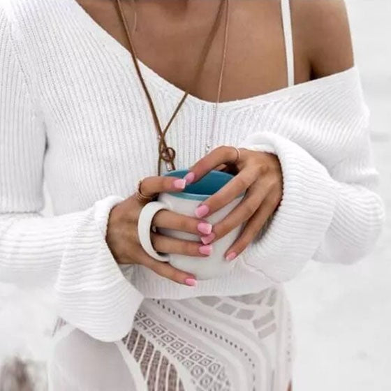 Casual White Plain Crop V-neck Long Sleeve Fashion Pullover Sweater