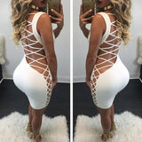 ByChicStyle Casual White Plain Cross Back Hollow-out Round Neck Bandage Bodycon Dress