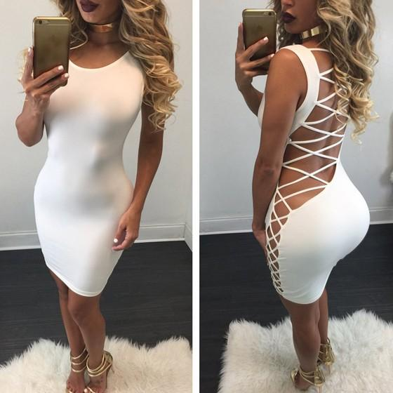 Casual White Plain Cross Back Hollow-out Round Neck Bandage Bodycon Dress