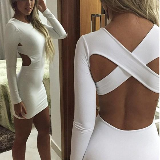 Casual White Plain Cut Out Cross Back Round Neck Mini Dress
