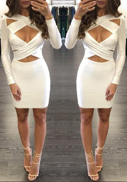 Casual White Cross Front Cut Out Long Sleeve Bodycon Mini Dress