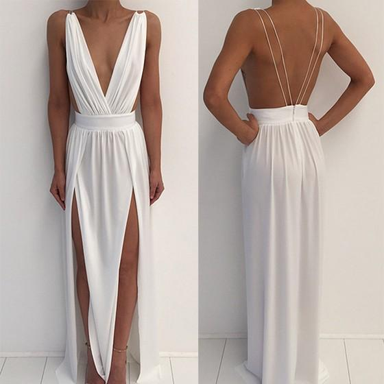 White Draped Backless Irregular Plunging Neckline Side Silt Summer Beach Maxi Dress