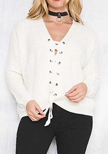 Casual White Plain Drawstring Collarless Long Sleeve Pullover Sweater
