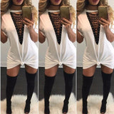ByChicStyle Casual White Plain Drawstring Plunging Neckline Short Sleeve Mini Dress