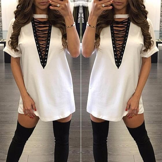 Casual White Plain Drawstring Plunging Neckline Short Sleeve Mini Dress