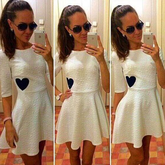 Casual White Plain Heart Print Round Neck Short Sleeve Cute Mini Dress