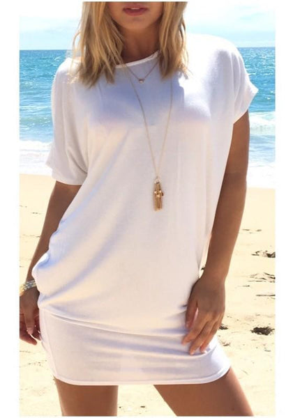 Casual White Plain Hollow-out Belt Cross Back Fashion Mini Dress