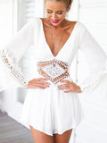 ByChicStyle Sexy V-neck One Piece Backless Lace Hollow Out Beach Style Playsuit Jumpsuits