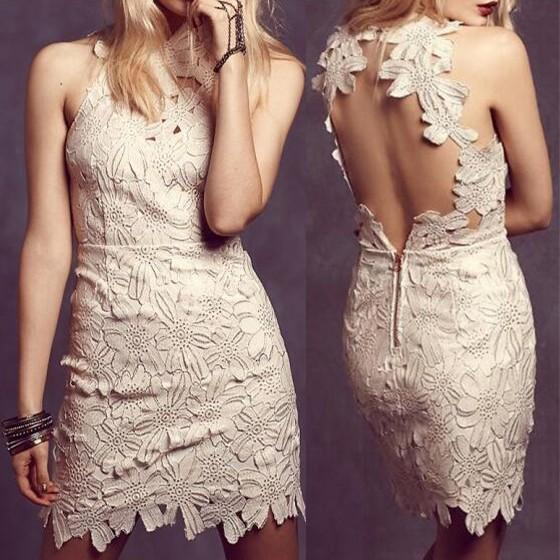 Casual White Plain Hollow-out Lace Zipper Backless Mini Dress