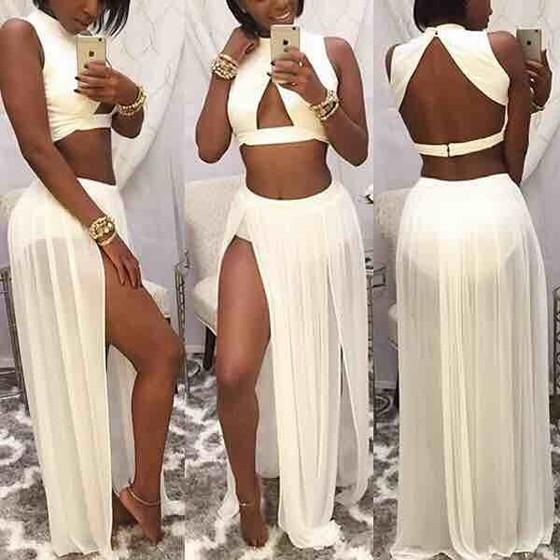 Casual White Irregular Two Piece Slits On Both Sides Backless Boho Maxi Dress