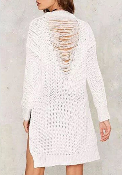 Casual White Plain Irregular Hollow-out Back After Short Before Long Knit Pullover Sweater