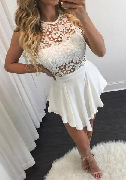 Casual White Plain Lace Hollow-out Round Neck Mini Dress