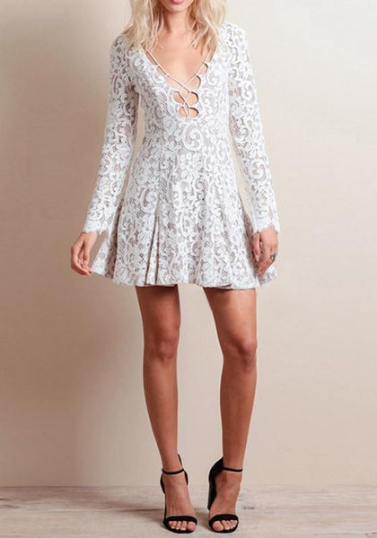 White Plain Pleated Lace Hollow-out Deep V-neck Long Sleeve Party Mini Dress