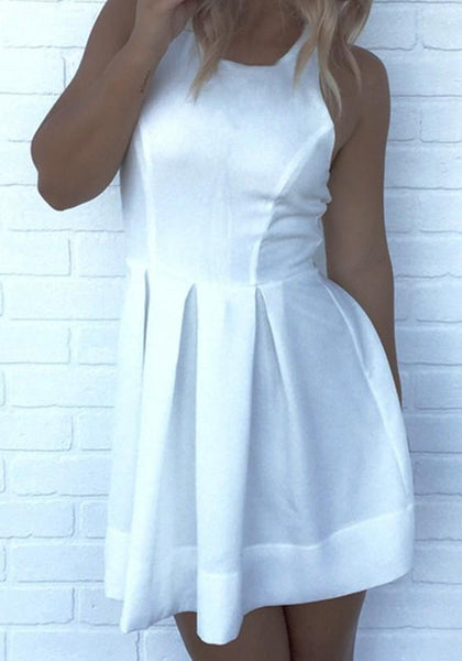 Casual White Plain Pleated Round Neck Mini Dress