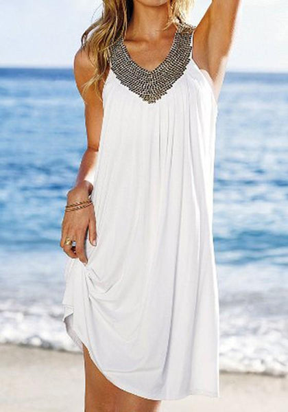 Casual White Plain Pleated Sequin Outdoors Mini Dress