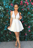 ByChicStyle Casual White Plain Pleated V-neck Sleeveless Loose Mini Dress