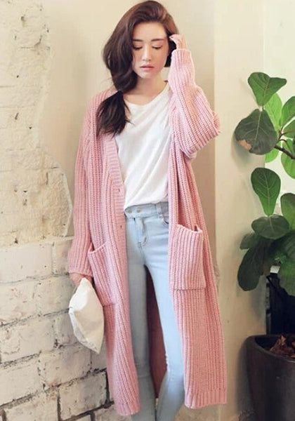 Casual Pink  Plain Pockets Long Sleeve Cardigan