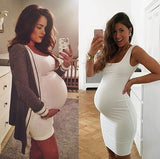 ByChicStyle Casual White Round Neck Sleeveless Maternity Gown Mini Dress