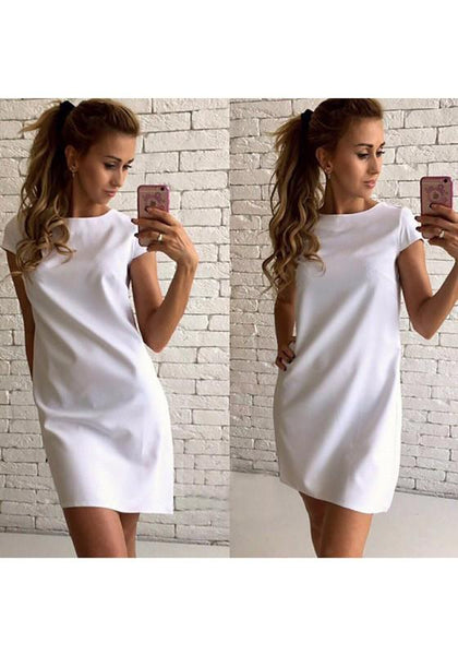 Casual White Plain Round Neck Short Sleeve Casual Mini Dress
