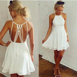 ByChicStyle White Plain Tie Back Condole Belt Hollow Out Ruffles Square Neck Chiffon Dress