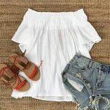 ByChicStyle Casual White Pleated Off Shoulder Flare Sleeve Mini Dress