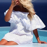 ByChicStyle Casual White Polka Dot Bandeau Elbow Sleeve Casual Dacron Mini Dress