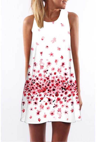 Casual White-Red Floral Print Irregular Round Neck Sleeveless Casual Loose Mini Dress