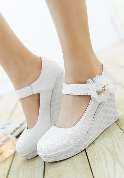 Casual White Round Toe Flower Patchwork Casual Wedges Shoes