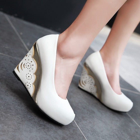Casual White Round Toe Hollow-out Fashion Wedges Shoes