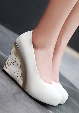 Streetstyle  Casual White Round Toe Hollow-out Fashion Wedges Shoes