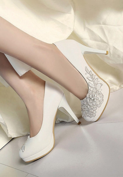 Casual White Round Toe Stiletto Embroidery Pearl Sweet High-Heeled Shoes