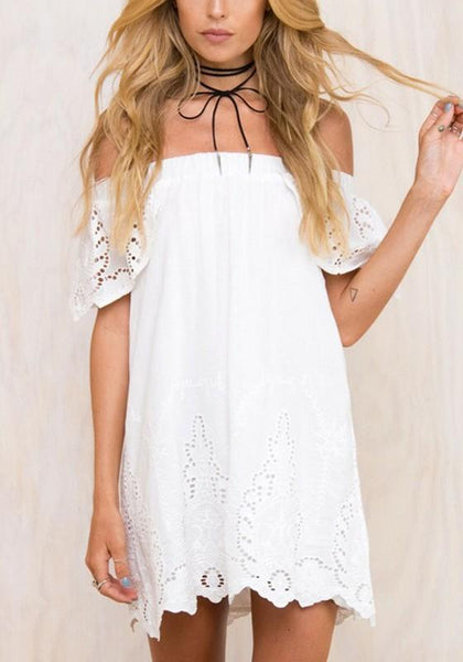 Casual White Ruffle Backless Wavy Edge Off Shoulder Short Sleeve Homecoming Mini Dress