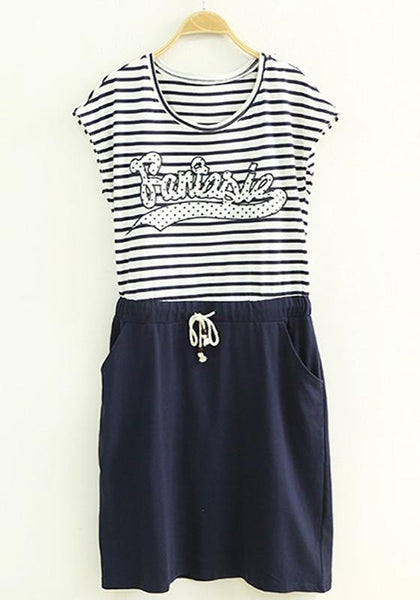 Casual White Striped Patchwork Drawstring Dress