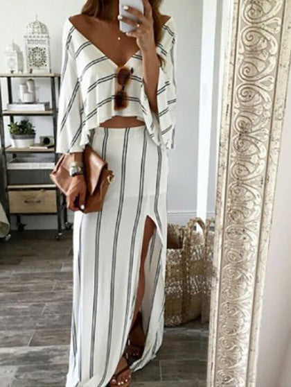 Casual Sexy Deep V Neck Open Back Stripped Dress