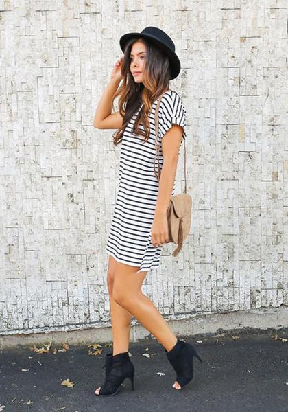 Casual White Striped Round Neck Short Sleeve Mini Dress
