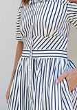 ByChicStyle Casual White Striped Single Breasted Bandeau Boat Neck Fashion Maxi Dress