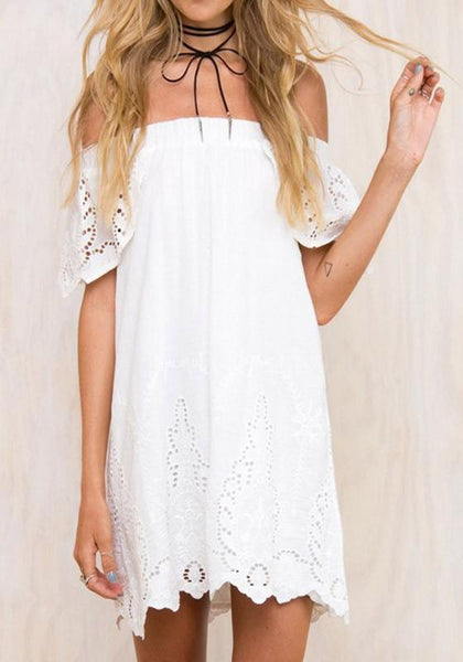 Casual White Wavy Edge Draped Boat Neck Off-shoulder Backless Bohemian Mini Dress