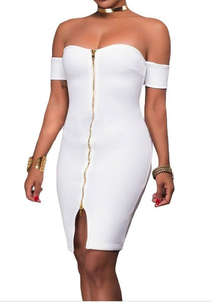 Casual White Zipper Bandeau Slit Off Shoulder Backless Bodycon Club Mini Dress