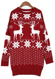 ByChicStyle Casual New Women Floral Christmas Deer Snowflake Cute Mini Sweater Dress