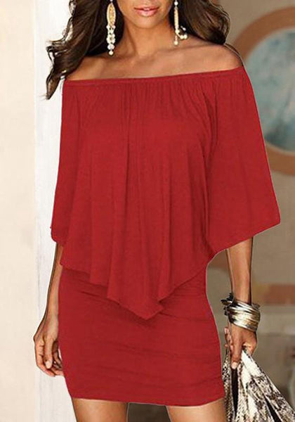 Burgundy Red Off Shoulder Ruffle Backless Fashion Dacron Cocktail Party Mini Dress