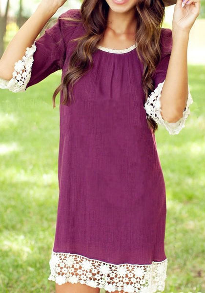 Casual Purple Red Patchwork Lace Elbow Sleeve Fashion Mini Dress