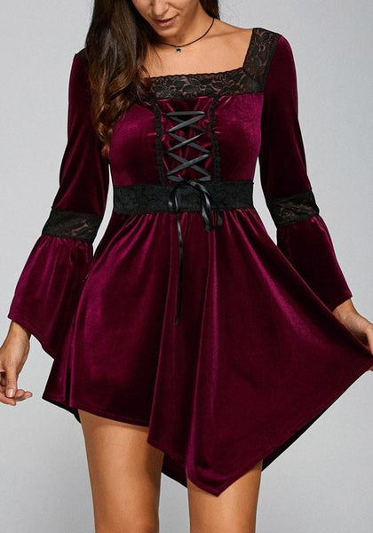 Casual New Women Patchwork Lace Irregular Drawstring Mini Dress