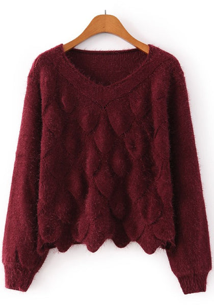 Casual Red Plain Long Sleeve Pullover