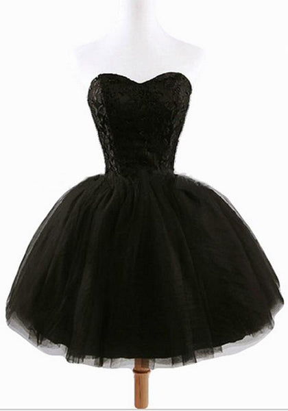 Casual Women's Black Plain Grenadine Strapless Lace-Up Ball Gown Sweet Tutu Mini Dress